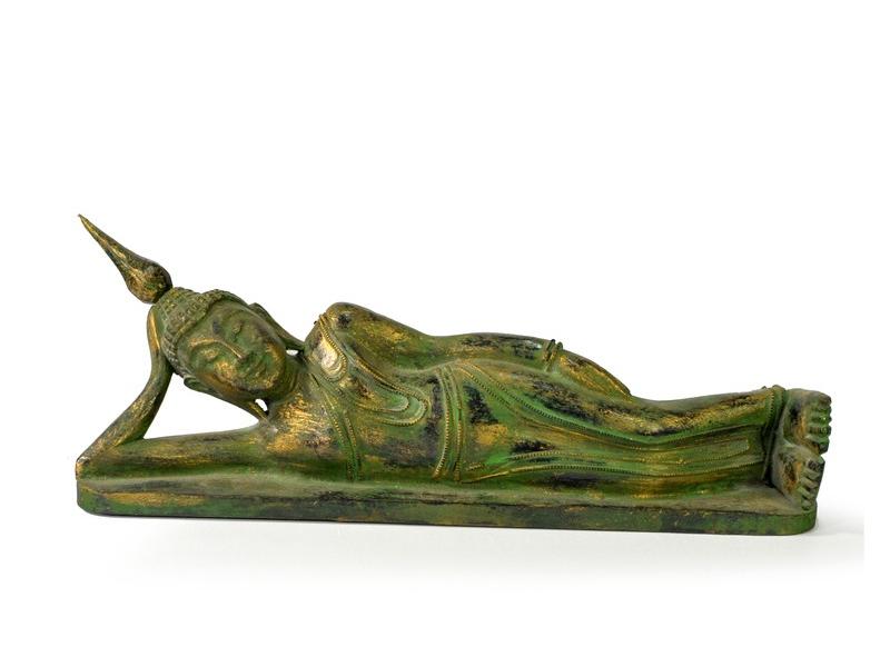 Narozeninový Buddha, úterý, teak, zelená patina, 35cm
