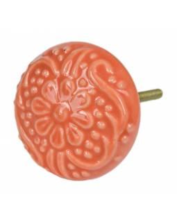 Malovaná porcelánová úchytka na šuplík, oranžová, vzor květiny, 5cm