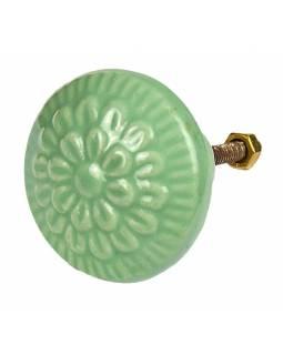 Malovaná porcelánová úchytka na šuplík, světle zelená, květ Jiřiny, průměr 4,2cm