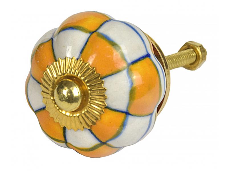 Malovaná porcelánová úchytka na šuplík, bílo-oranžové kostky, průměr 4cm