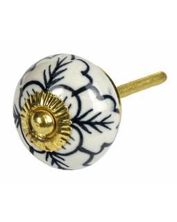 Malovaná porcelánová úchytka na šuplík, bílá, malované černé větvičky a květina