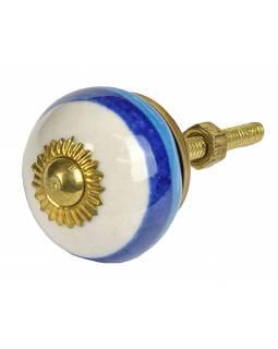 Malovaná porcelánová úchytka na šuplík, bílá s modro-tyrkysovým proužkem, 3cm