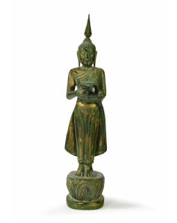 Narozeninový Buddha, středa, teak, zelená patina, 35cm