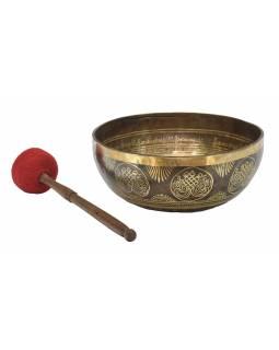 """Tibetská mísa, """"Gulpa"""", gravírovaná s designem, průměr 30cm"""