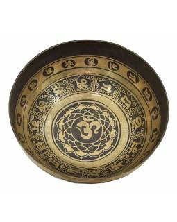 """Tibetská mísa, """"Gulpa"""", gravírovaná s designem, průměr 31cm"""