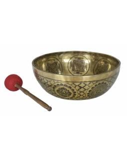 """Tibetská mísa, """"Gulpa"""", gravírovaná s designem, průměr 41cm"""