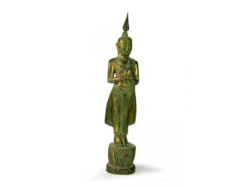 Narozeninový Buddha, pátek, teak, zelená patina, 35cm