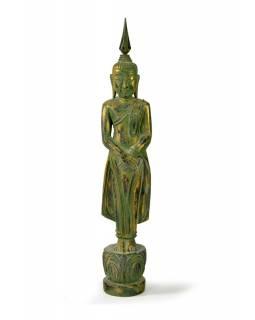 Narozeninový Buddha, neděle, teak, zelená patina, 35cm