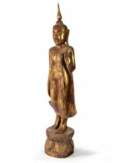 Narozeninový Buddha, pondělí, teak, hnědá patina, 50cm