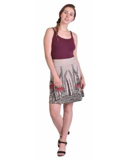Krátká sukně, Áčkový střih, béžová s černo-červeným potiskem květin