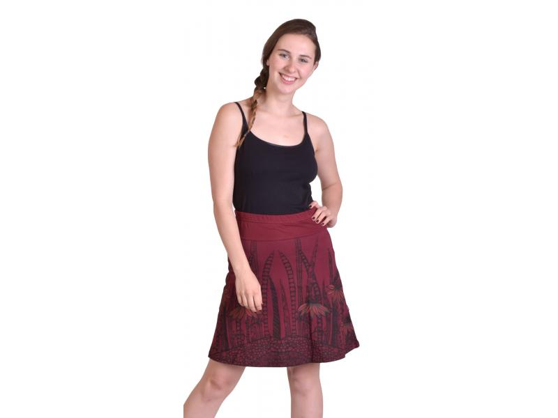 Krátká sukně, Áčkový střih, vínová s černo-červeným potiskem květin
