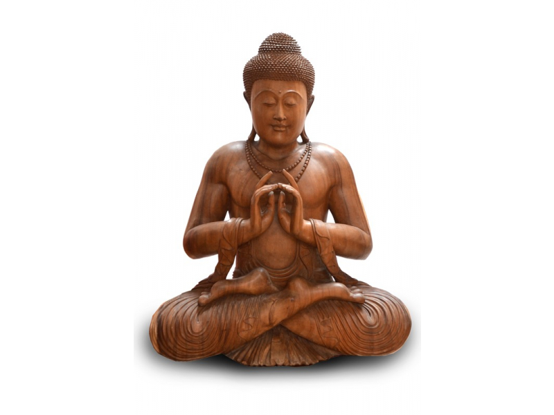 Velká dřevěná socha Buddha, 100x80cm