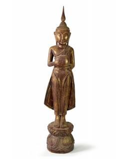 Narozeninový Buddha, středa, teak, hnědá patina, 50cm