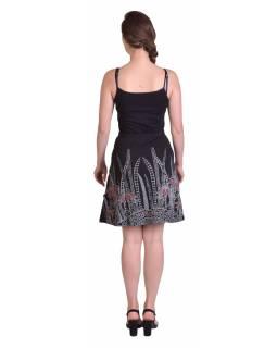 Krátká sukně, Áčkový střih, černá s černo-červeným potiskem květin