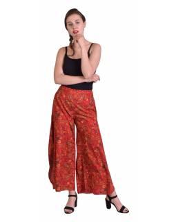 Pohodlné volné kalhoty, široké nohavice, červené s paisley potiskem