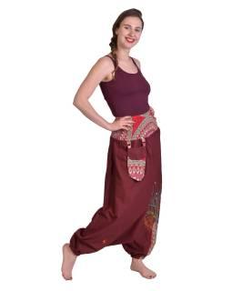 """Vínové turecké kalhoty, """"Tree design"""", barevná výšivka, kapsička, bobbin"""