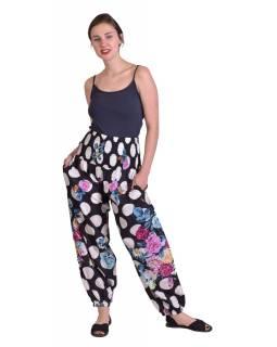 """Černé balonové kalhoty s potiskem """"Dots & Flower"""", žabičkování"""