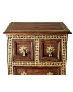 Šuplíková komoda z palisandrového dřeva zdobená mosazí, 45x38x110cm