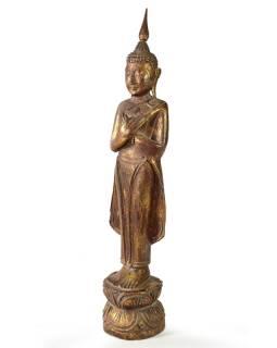Narozeninový Buddha, pátek, teak, hnědá patina, 50cm