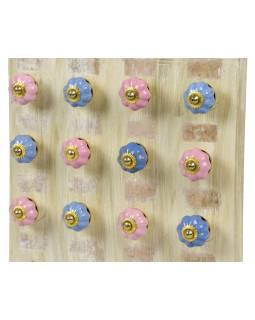 Sada úchytek z keramiky, modro-růžová, 10+2Ks