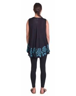 Letní černo-modrá volná halenka, ruční výšivka, bez rukávu