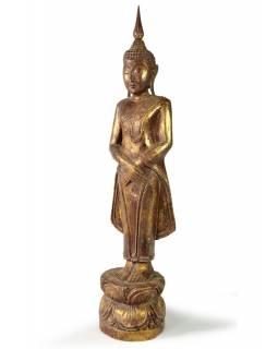 Narozeninový Buddha, neděle, teak, hnědá patina, 50cm