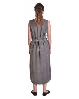 Dlouhé volné šedé šaty bez rukávu, výšivka, vázání na zádech
