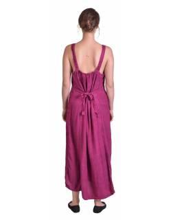 Delší tmavě růžové letní volné šaty, na ramínka, s výšivkou, vázání na zádech