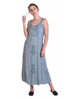 Delší světle modré letní volné šaty, na ramínka, s výšivkou, vázání na zádech