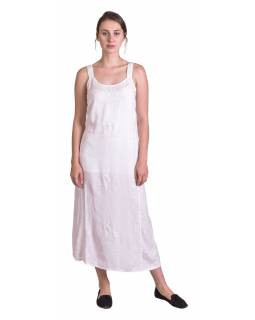 Delší letní volné šaty, sněho-bílé, na ramínka, s výšivkou, vázání na zádech