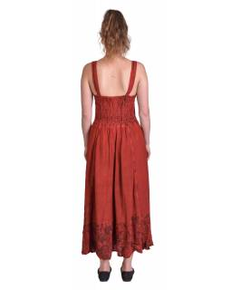 Dlouhé červené šaty na ramínka, výšivka a šněrování