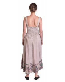 Dlouhé béžové šaty na ramínka, výšivka a potisk barevných květů