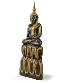 Narozeninový Buddha, čtvrtek, teak, černo - zlatá patina, 50cm