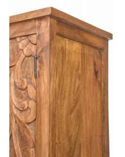 Vyřezávaná skříň z mangového dřeva, ruční práce, hnědá, 100x43x200cm