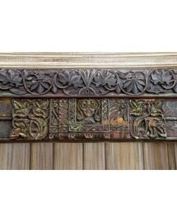 Knihovna z antik teakového dřeva, zdobená řezbami, bílá, 125x52x207cm
