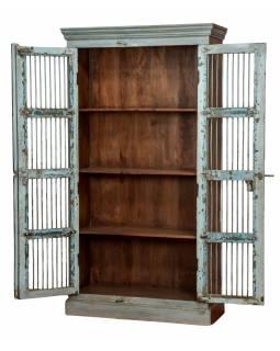 Starožitná skříň z teakového dřeva, kovové mříže bez skla, 100x40x183cm