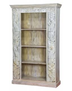 Knihovna z mangového dřeva, staré řezby, 120x44x194cm