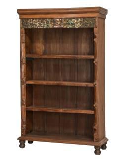 Knihovna z teakového dřeva, staré řezby, 115x42x182cm