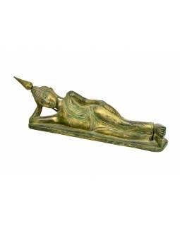 Narozeninový Buddha, úterý, teak, zelená patina, 50cm