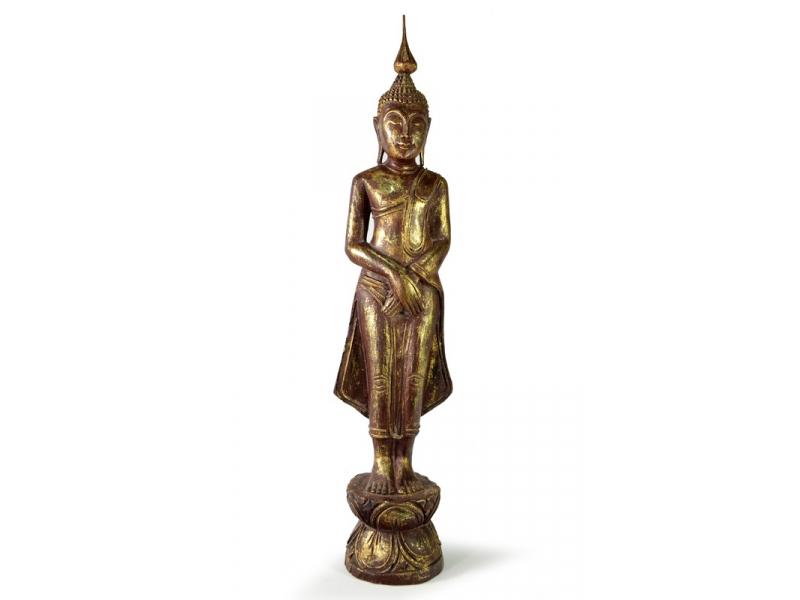 Narozeninový Buddha, neděle, teak, hnědá patina, 63cm