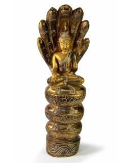 Narozeninový Buddha, sobota, teak, zlatá patina, 63cm