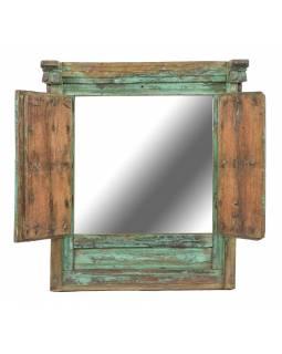 Staré teakové okno se zrcadlem, zelené, 44x17x51cm