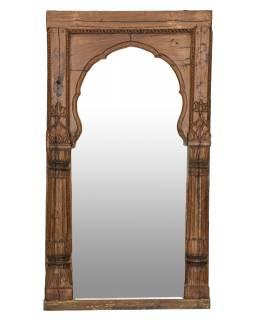 Zrcadlo v rámu ze starého portálu, antik, teak, 104x9x205cm