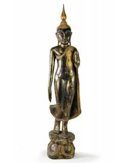 Narozeninový Buddha, pondělí, teak, černo - zlatá patina, 63cm