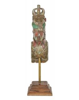 Starožitná hlava koně z teakového dřeva, zeleno červená, 20x26x72cm