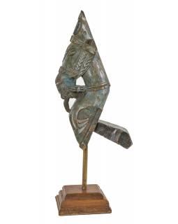 Starožitná hlava koně z teakového dřeva, šedo modrá, 20x26x72cm