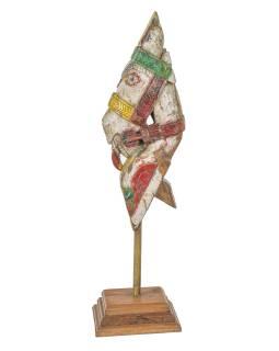 Starožitná hlava koně z teakového dřeva, barevná, 20x34x76cm