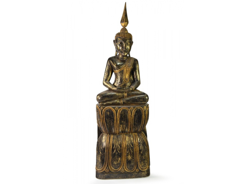 Narozeninový Buddha, čtvrtek, teak, černo - zlatá patina, 63cm