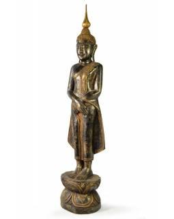 Narozeninový Buddha, neděle, teak, černo - zlatá patina, 63cm