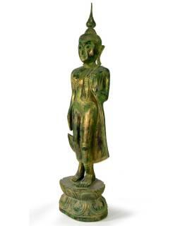 Narozeninový Buddha, pondělí, teak, zelená patina, 63cm